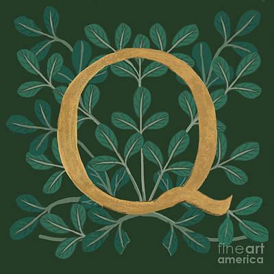 Digital Art - Forest Leaves Letter Q by Donna Huntriss