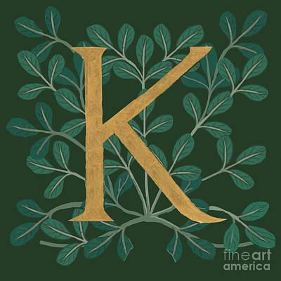 Digital Art - Forest Letter K by Donna Huntriss