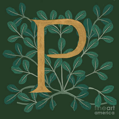 Digital Art - Forest Letter P by Donna Huntriss