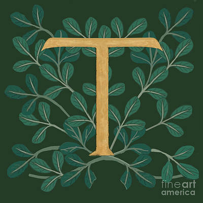 Digital Art - Forest Letter T by Donna Huntriss