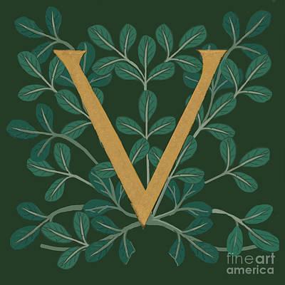 Digital Art - Forest Letter V by Donna Huntriss