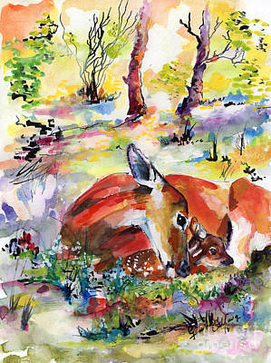 Forest Life Doe And Fawn Watercolor Art Print