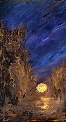 Mixed Media - Forest Moonrise Glow by R Kyllo