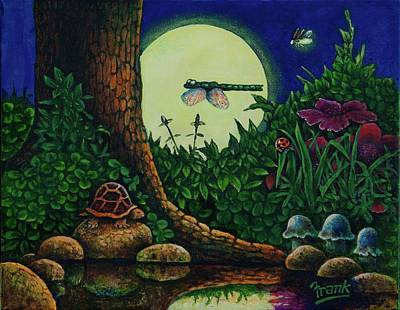 Art Print featuring the painting Forest Never Sleeps Chapter- Full Moon by Michael Frank