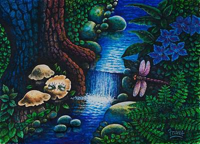 Art Print featuring the painting Forest Never Sleeps Chapter- Midnight Rendezvous by Michael Frank
