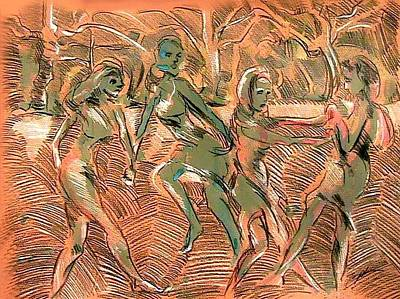 Drawing - Forest Nymphs Dancing by Lord Toph