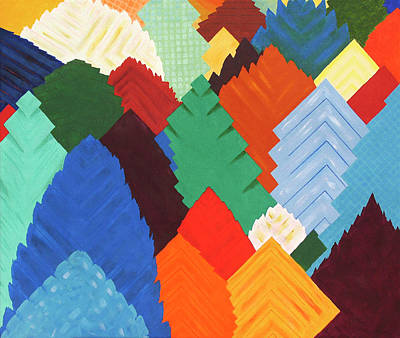 Patchwork Quilts Digital Art - Forest Of Squares - Patchwork Forest Abstraction by Rayanda Arts