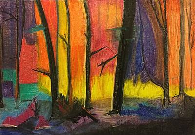 Charcoal Mixed Media - Forest On Fire by Karolina Slep