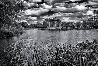 Photograph - Forest Park Pagoda Black And White_dsc5012  by Greg Kluempers