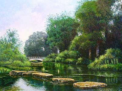 Forest Park Stepping Stones Art Print by Michael Frank