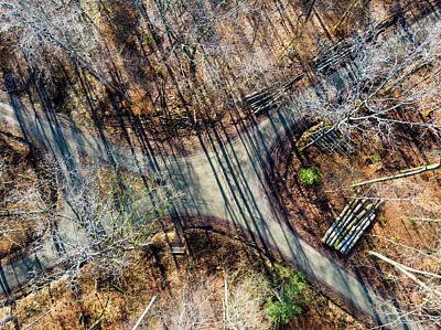 Photograph - Forest Path Crossroad From Above Drone Photography by Matthias Hauser