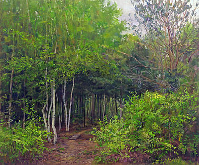 Painting - Forest Path Leading Into The Forest by Galina Gladkaya