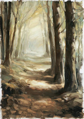 Vertical Wall Art - Painting - Forest Path by Steve Henderson