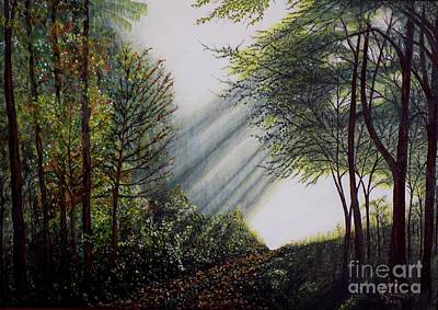 Art Print featuring the painting Forest Pathway by Judy Kirouac