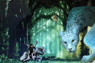 Digital Art - Forest Queen And Fearsome One by Dennis Baswell