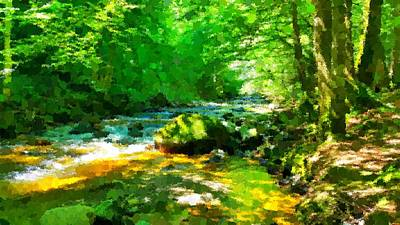 Painting - Forest Rivulet by Samuel Majcen
