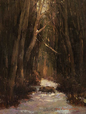 Painting - Forest Road With Wild Boars by Attila Meszlenyi