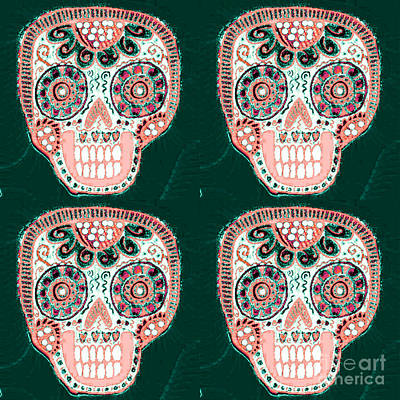 Mixed Media - Forest Rose Dod Sugar Skull  by Sandra Silberzweig
