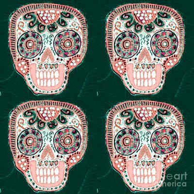 Mixed Media - Forest Rose Dod Sugar Skull  by Sandra Silberzweig