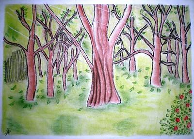 Autumn Landscape Drawing - Forest Scenery by Indu Raghavan