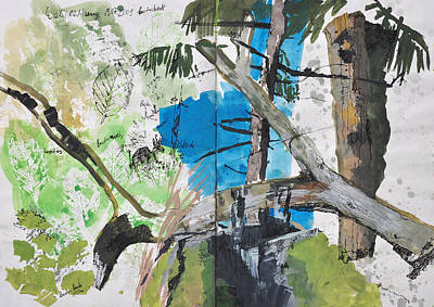 Painting - Forest Sketch,collage by Martin Stankewitz