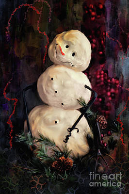 Pine Needle Digital Art - Forest Snowman by Lois Bryan