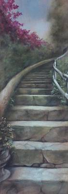 Forest Stairway Up  Art Print