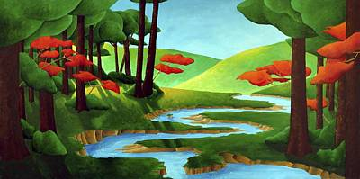 Painting - Forest Stream - Through The Forest Series by Richard Hoedl