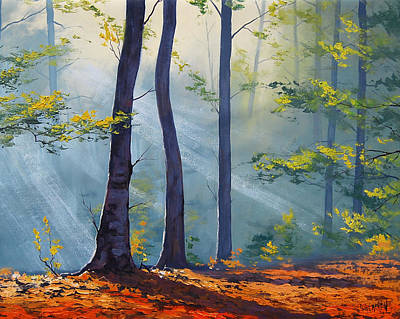 Impressionism Paintings - Forest Sunrays by Graham Gercken