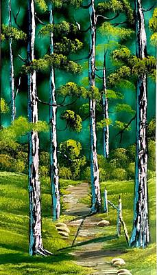 Wet-on-wet-technique Painting - Forest Trail by Jonathan Colon
