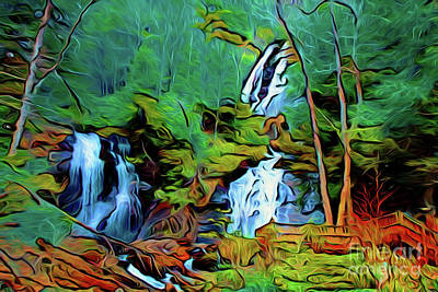 Photograph - Forest Waterfall 16618 by Ray Shrewsberry