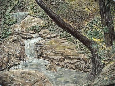 Ceramic Relief Relief - Forest Waterfall by Doris Lindsey