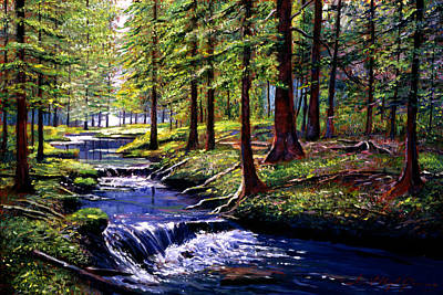Fir Trees Painting - Forest Waters by David Lloyd Glover