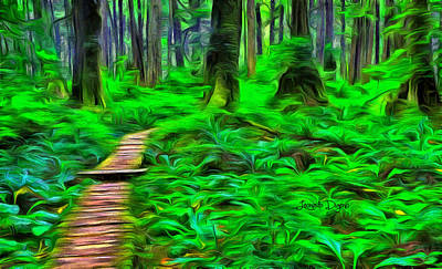 Red Leaf Digital Art - Forest Way - Da by Leonardo Digenio
