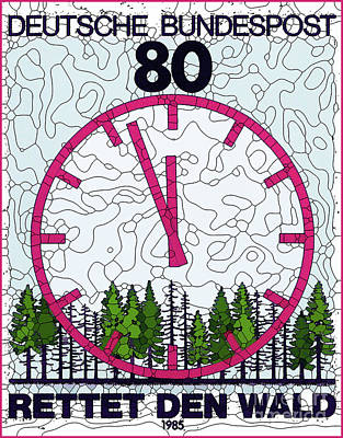Painting - Forest With Running Clock by Lanjee Chee