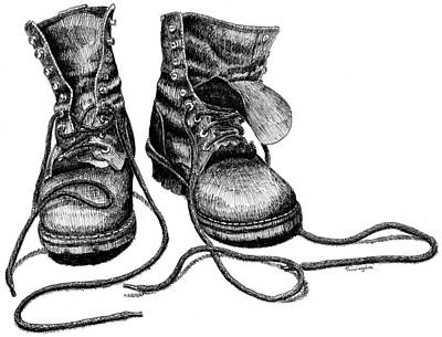 Drawing - Forester's Boots by Timothy Livingston