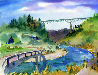 Painting - Foresthill Bridge #2 by Joan Chlarson