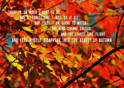 Photograph - Forever Autumn Quote by Jamart Photography