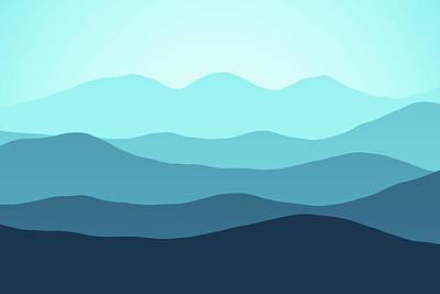 Digital Art - Forever Cyan Hills by Georgiana Romanovna
