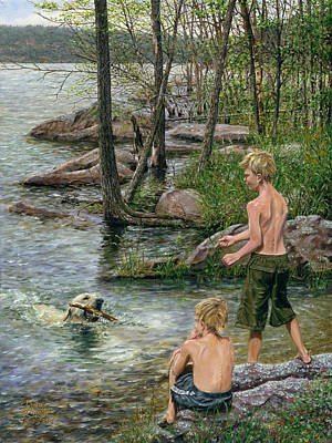 Dog In Lake Painting - Forever-friends by Doug Kreuger