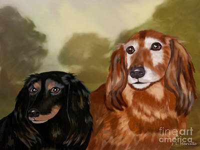 Dachshund Puppy Digital Art - Forever Friends by Linda Marcille