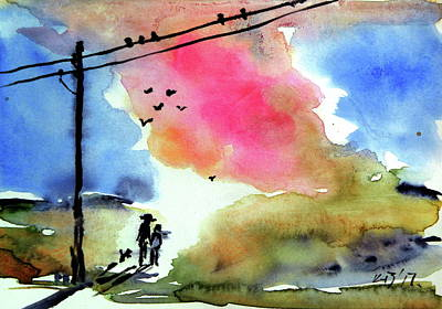 Autumn Landscape Painting - Forever Together- Postcard by Kovacs Anna Brigitta