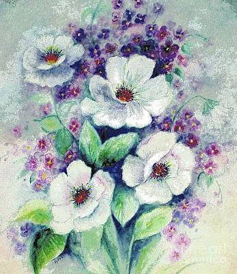 Art Print featuring the painting Forget-me-knots And Roses by Hazel Holland