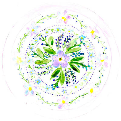 Painting - Forget Me Not Botanical Mandala by Louise Gale