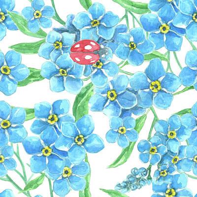 Forget Me Not Seamless Floral Pattern Art Print by Katerina Kirilova