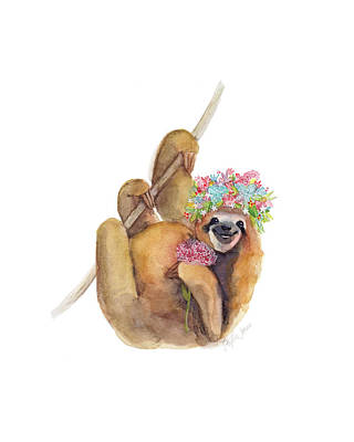 Sloth Painting - Forget Me Not Sloth by Stephie Jones