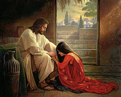 Black Hair Painting - Forgiven by Greg Olsen