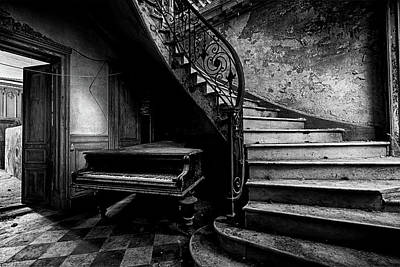 Photograph - forgotten ancient piano - abandoned castle BW by Dirk Ercken