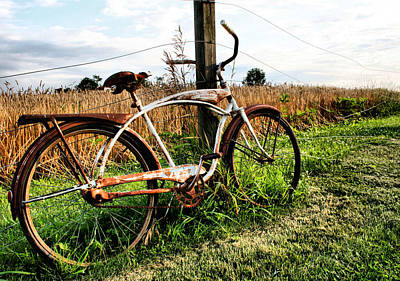 Wheat Field Sky Photograph - Forgotten Bicycle by Doug Hockman Photography