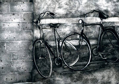 Two Bicycles Painting - Forgotten Bikes by Mattie O